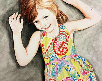 Original Custom Commission WATERCOLOR portrait painting by Redstreake