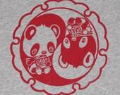 Panda Beart shirt Kawaii cute noodles yin yang women kids