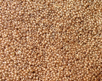 Micro Seed Beads Antique Size 18/0 Red Gold Glass