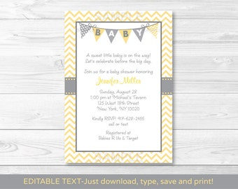 Cute Chevron Baby Shower Invitation / Chevron Pattern / Yellow & Grey / Gender Neutral Baby Shower / INSTANT DOWNLOAD Editable PDF