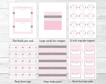 Pink Chevron Baby Shower Party Package / Baby Girl / Pink & Grey / Baby Shower Decorations / INSTANT DOWNLOAD