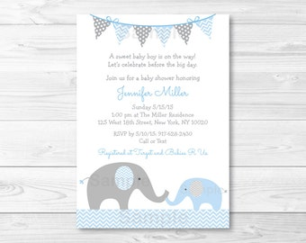 Blue Elephant Baby Shower Invitation / Baby Boy / Chevron Elephant / Blue & Grey / PRINTABLE