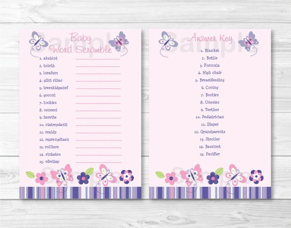 cute pink butterfly baby shower word scramble / butterfly fly baby, Baby shower invitation