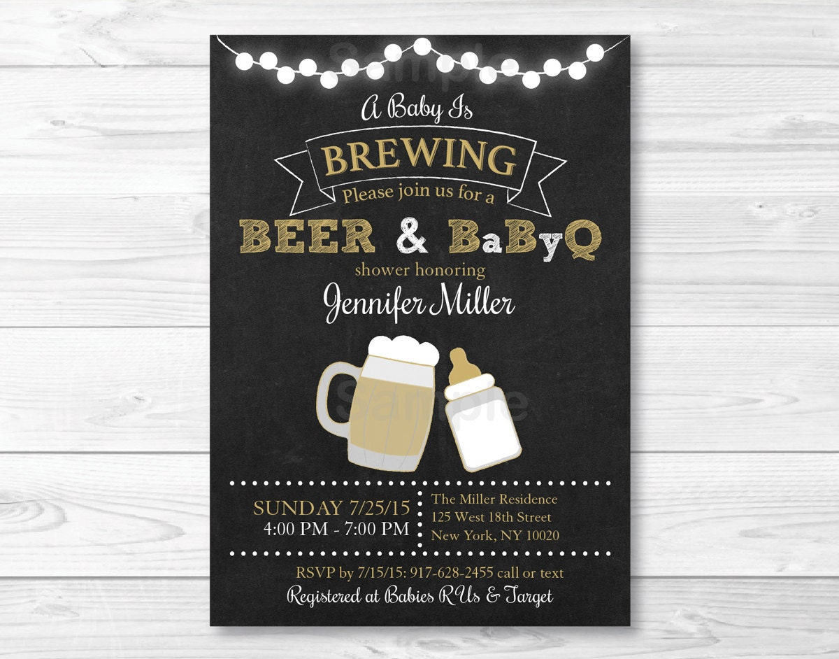 BBQ Baby Shower Invitation / BaByQ Baby Shower Invitation