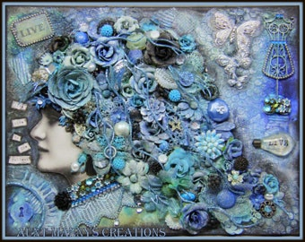 Blue Mixed Media Finnabair Inspired Canvas Live Life