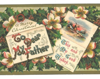 Vintage Christmas Letter Postcard to Father
