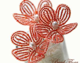 flower hair pins, tangerine orange flower blossom - for brides, bridesmaids, flower girls, citrus fresh clementine apricot salmon coral