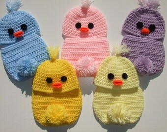 Crochet Spring Baby Chick Hat - Diaper Cover - You Pick Size and Color - Photo Prop - Ready to Ship