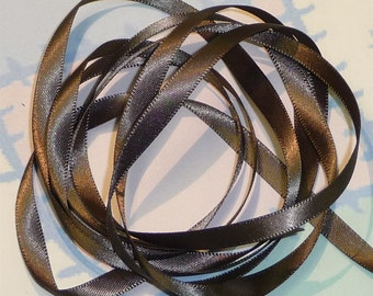 DARK OLIVE DouBLe FaCeD SaTiN RiBBoN, Polyester 1/4 inch wide, 5 Yards