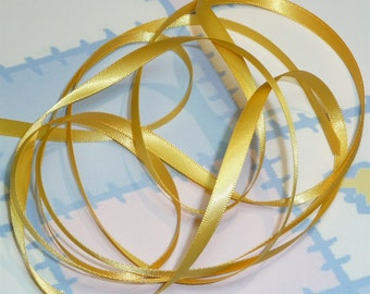 YELLOW GOLD DouBLe FaCeD SaTiN RiBBoN, Polyester 1/4 inch wide, 5 Yards