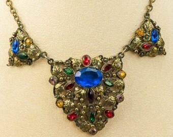 Art Deco Czech Multicolor Glass Necklace Gold Tone Vintage