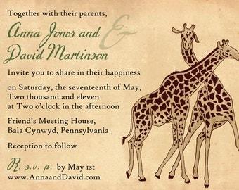 Destination zoo wedding invitation with giraffes - SAMPLE