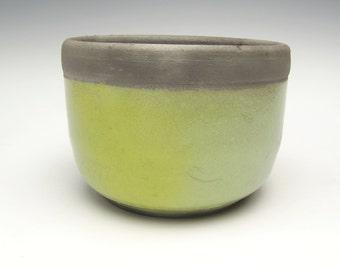 Modern Succulent planter Herb pot Raku cactus Pottery planter Chartreuse dirty Turquoise Green Minimalist Ceramic Pottery Plant pot 51/4 x4
