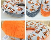 MR. FOX BOPPY Cover / Zipper closure / Cute Fox cotton print with soft minky dimples/ Also available in Orange