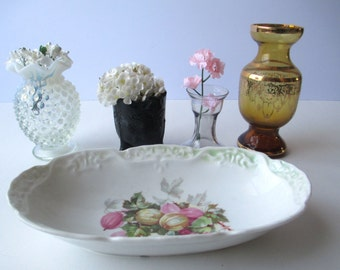 Vintage Floral Dish Vases and Toothpick Holder Collection of Five