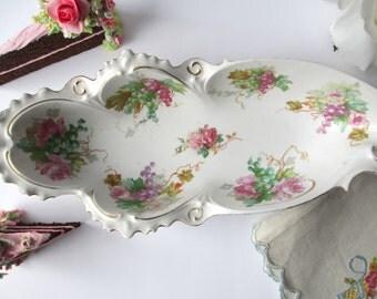 Vintage Celery Dish Pink Floral Austrian - Weddings Bridal Tea Parties
