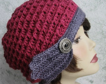 Womens Crochet Hat Pattern Waffle Stitch With Trim Band Instant Download Adult Multi-Sized
