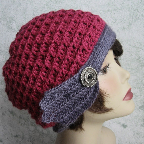 Crochet Patterns Waffle Stitch : Womens Crochet Hat Pattern Waffle Stitch With Trim Band Instant ...