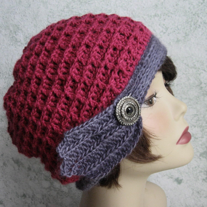 Waffle Stitch Knit Hat Pattern : Womens Crochet Hat Pattern Waffle Stitch With Trim Band
