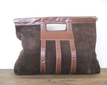 vintage 1970s brown suede clutch - leather handbag, bohemian chic, purse, striped, hippie