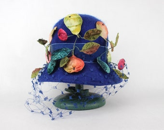 oh fruits, vintage 1960s garden party hat with netting + velvet leaves + fruits - Mr Lewis, cobalt blue felted wool bubble cloche