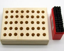 """5/32"""" (4mm) Letter & Number Stamping 36 Piece Set And Stamp Storage Block"""