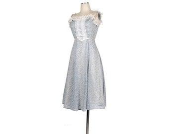 Vintage 80s Dress - GUNNE SAX Dress -  Pale Blue Lavender Purple -  Floral Print - Ditsy Print  XS Dress - xxs - Sun Dress - Prom Dress