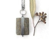 bronzite stone pendant, brown stone and sterling necklace, rustic oxidized jewelry, modern stone necklace