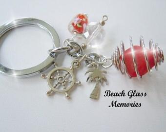 Keyring Sea Glass Red Beach Glass Keychain Jewery for Your Keys Eco Friendly Key ring