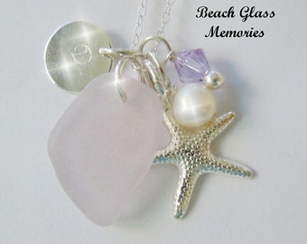 Sea Glass Necklace Personalized Necklace Aqua Beach Glass Necklace Seaglass Jewelry Charm Necklace Starfish