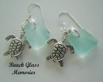 Aqua Sea Glass Sea Turtle Earrings - Modern Jewelry Beach Glass Earrings Dangle Earrings