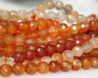 Orange Agate 8 mm faceted Beads