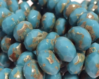 Czech Glass Rondells 8 mm Sky Blue Picasso Beads 0/601