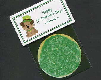 20 Personalized St Patricks Day Treat Bags - St Patricks Day Candy Bags - Candy Labels - Bag Toppers - St Patricks Bag Label - Dog