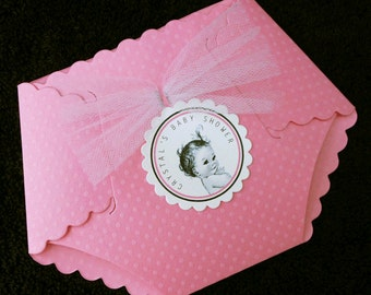Personalized Baby Shower Invitations, Pink Dotted Diaper Baby Girl Vintage, set of 40