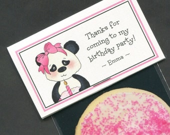 Girls Birthday Party Favors - Favor Bag - Bag Labels - Goody Bag - Treat Bag - Candy Bag - First Birthday - Personalized - Panda - 20