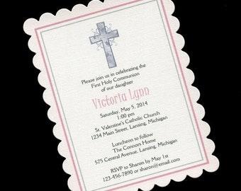 Communion Invitations - First Holy Communion - First Communion - Girls Communion Invitations - Pink - Silver Cross - 20