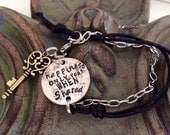 Happiness only real when Shared ~ coin bracelet leather ~ into the wild