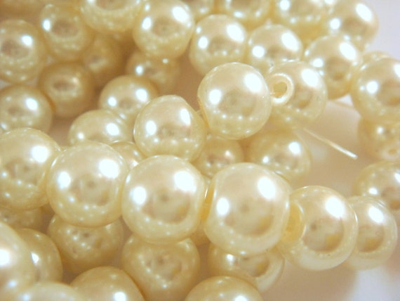 50 Off White Glass Pearls Ivory Beads 8mm Pearl - 14 inch - 5130