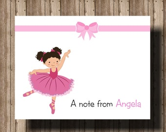 PERSONALIZED NOTECARDS Ballerina Girl Pink /Folded Notecards Boxed Set OF 10/Ballarina Thank You Cards/Ballerina Stationery Ballerina Party