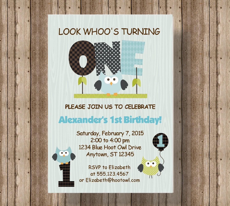 OWL FIRST BIRTHDAY Invitation For Boys / Blue Owl 1st Birthday