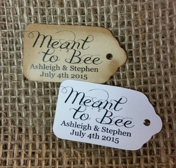 "Meant to Bee 100 SMALL 2"" Personalized Favor Tag Thank you Favor"