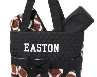 Personalized Diaper Bag Football Quilted Monogrammed Baby Boys Tote