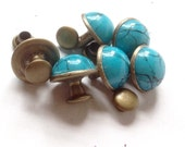 Qty 6 Turquoise  Rivets Antique Brass  Finish 2-parts  -  Free Shipping USA