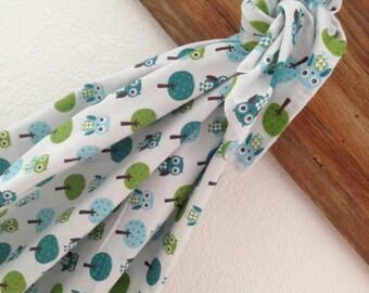 Gingham Hoot Owls Blue Baby Blanket Swaddler