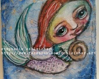 Whimsical Mermaid 4in x4in Original Painting