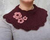 Crochet capelet, burgundy crochet capelet, crochet wool neck warmer, romantic flower capelet, retro capelet, gift for her, woman accessories