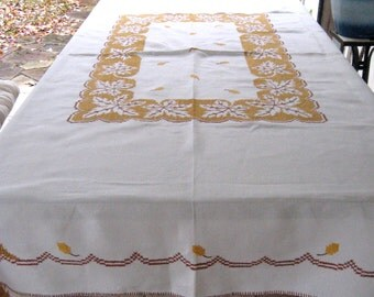 Cross Stitch tablecloth . Harvest Tablecloth .  Arts and Crafts - Leaf Motive Tablecloth . art deco . cross stitch