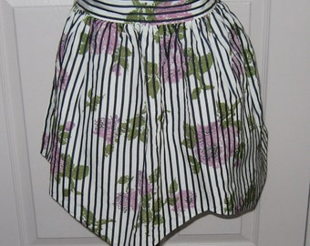 Organza and Organdy Apron .  Purple Rose Apron .  Reversible Apron