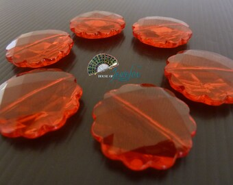 Flat Round Transparent RED Acrylic Beads with scallop edges, 30mm  - 9x